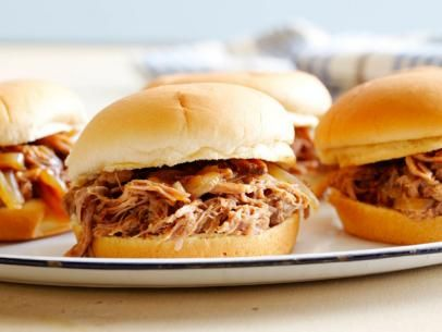 BBQ Pulled Pork Sandwiches - awesome!  Only I make them in the pressure cooker.  1/2 hour and done - deliciously easy!