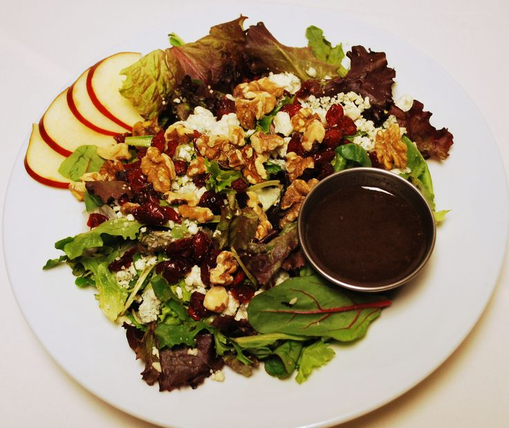 Appalachian Brewing Co.  NUTTY FRUITY SALAD Fresh field greens, crisp apples, Craisins, walnuts and bleu cheese crumbles. Your choice of dressing…10 #healthyeating #salad #lightmeals