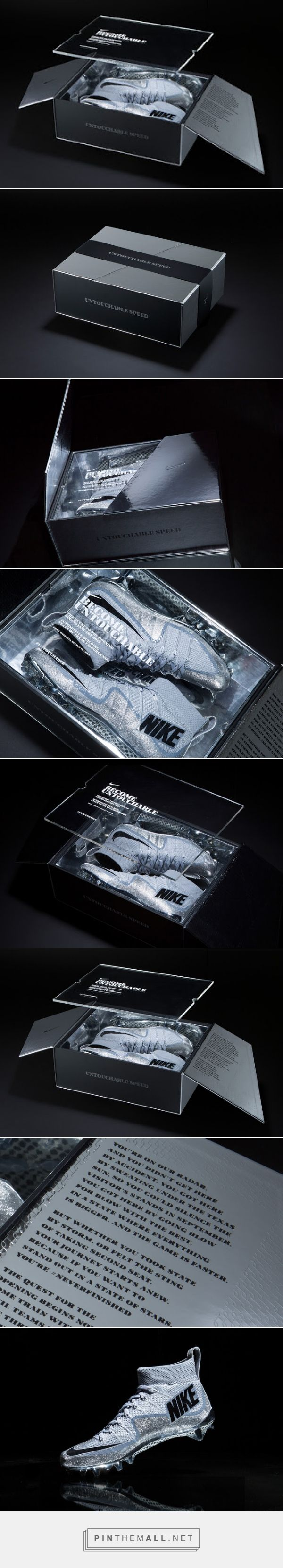 Nike Football asked us to create a limited package for their most advanced cleat, the Vapor Untouchable. The package was sent to Texas' top sixteen high school teams as an invitation to an exclusive event. The package is secured with a belly band, and the two angular flaps are secured together with hidden magnets. An acrylic panel with a screen printed invitation to the event covers the metallic silver cleats.