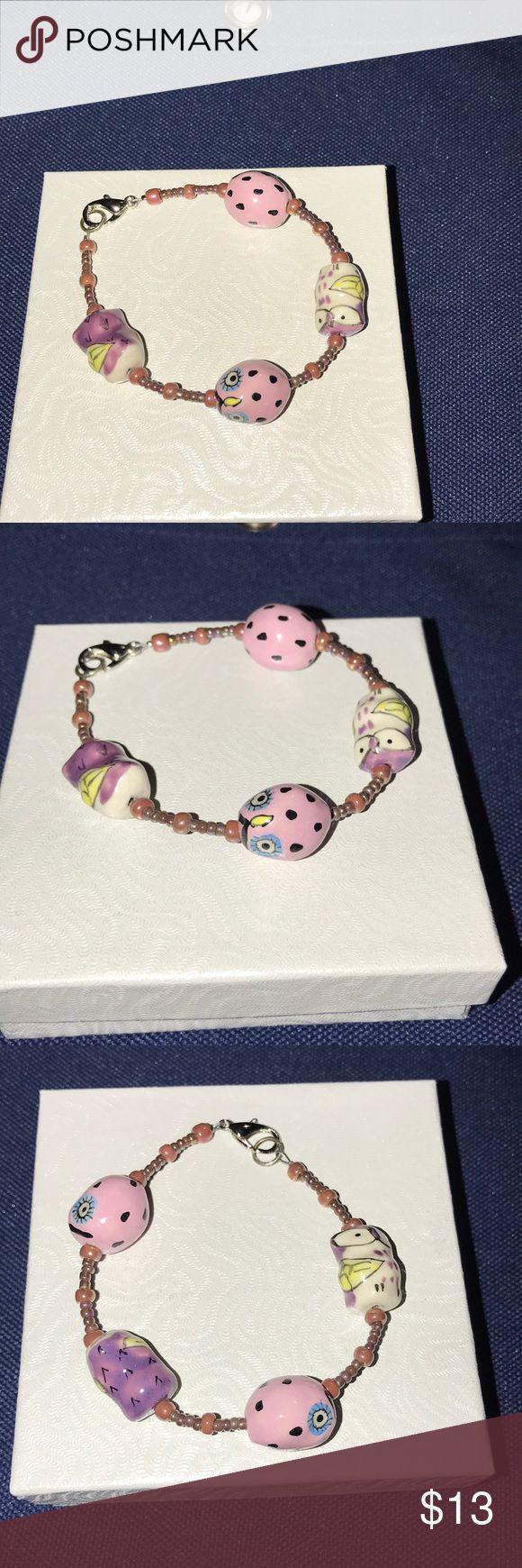 Girl's owl bracelet Owl bracelet with tiny beads Jewelry Bracelets