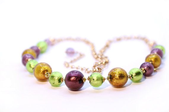 VENETIAN foil glass necklace MURANO glass Gold by Femalehappiness