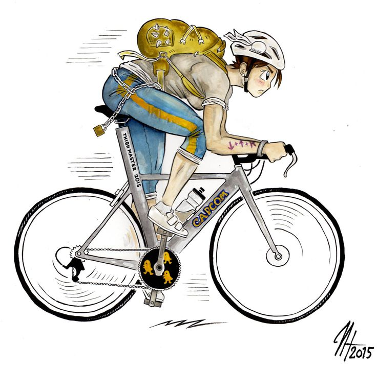 Always ride your bike to international fighting tournaments! #streetfighter #cycling ink and watercolor by harri hakala