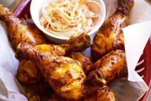 Spicy chicken drumsticks with coleslaw, chips and beans – Recipes – Slimming World