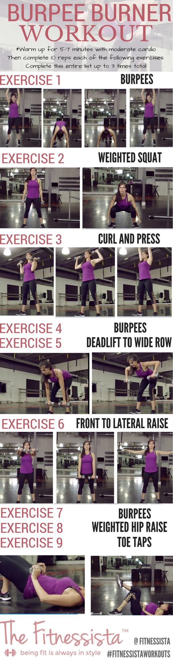 A total body burpee workout! Burpee blasts fire up your heat rate and burn major calories. Save for the next time you want a killer strength and cardio workout! fitnessista.com