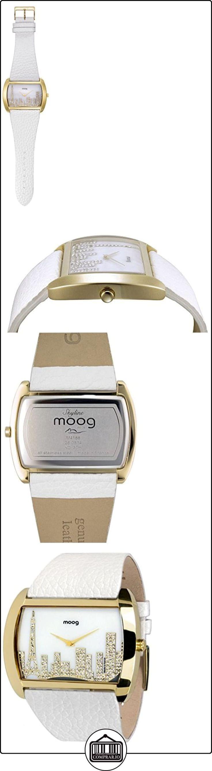 Moog Paris - Skyline - Reloj para Mujer - Dial color Blanco - Correa Blanco en Piel de vaca - Paris reloj - Hecho en Francia - M41882-101  ✿ Relojes para mujer - (Gama media/alta) ✿