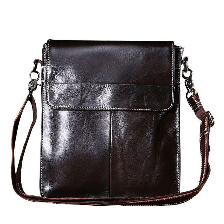 Men Unique Buckle Patchwork Design Cross-body Bag Fashion Business Messenger Bag