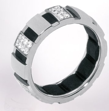 Chaumet-Class one-web-Apr.2013,Class One ring in 18-carat white gold, half diamond-paved with a grooved band in vulcanised black rubber, small model (available in yellow gold