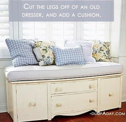 Bench ... Cut lugs off of an old dresser and add a comfy cushion! DIY Love it!! Bellisimo