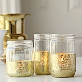 Add a little sparkle to your next holiday or event. These simple gold and glitter jars are so easy to create!