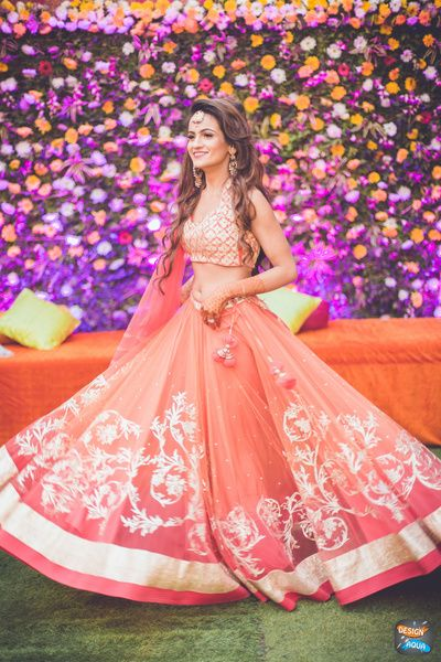 pastel pink and gold blouse, pink and carrot pink lehenga, shaded lehenga, ombre lehenga, floral embroidery, gota border