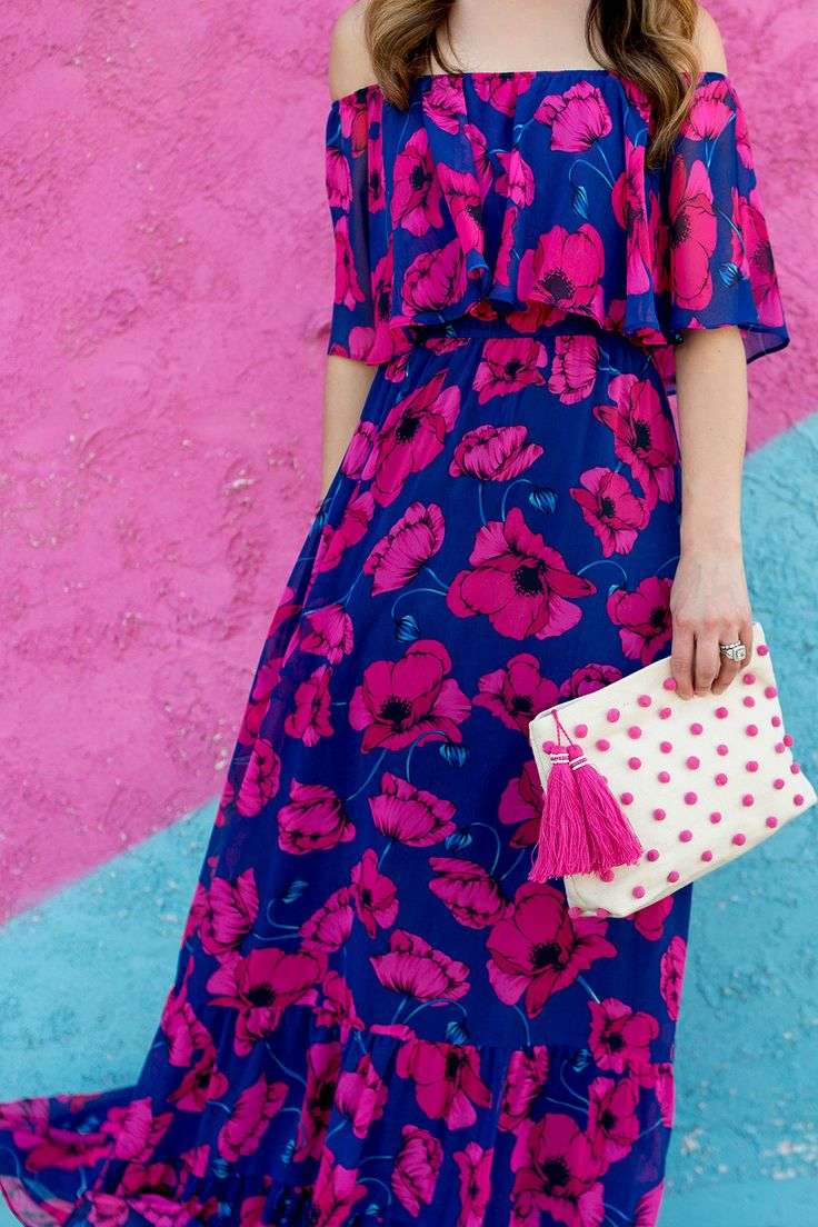 Donna Morgan Floral Off The Shoulder Maxi Dress on Jenn Lake from Style Charade