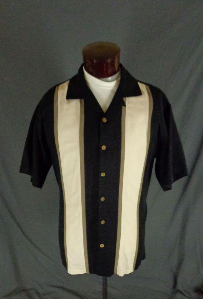 83ff7ff7 Vintage Island Shores 100% Silk Black With White Gray Striped Bowling Shirt-XL  #IslandShores #Bowling #Doy… | Vintage Hawaiian Shirts - Viva Las Vegas ...
