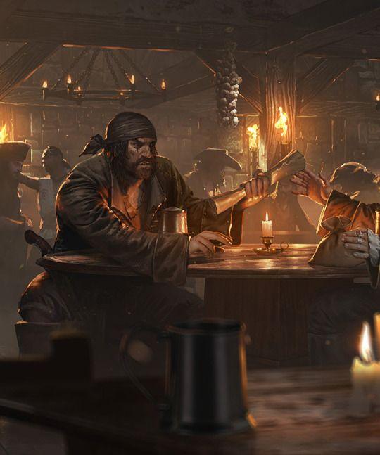 Seafight: Pirate Tavern - by Grzegorz Rutkowski. Tavern inn quest giver noble