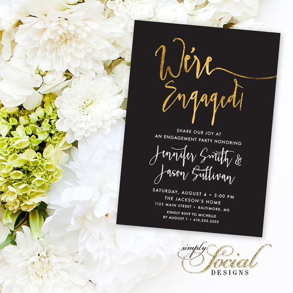 calligraphy engagement party invitation faux gold foil classy black and white calligraphy typography we - Who To Invite To Engagement Party