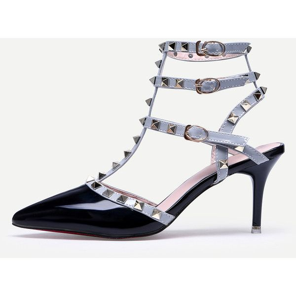Black Pointed Toe Buckle Strap Studded Stiletto Heels (€24) ❤ liked on Polyvore featuring shoes, pumps, black, high heel stilettos, ankle strap pumps, black studded pumps, black platform shoes and platform pumps
