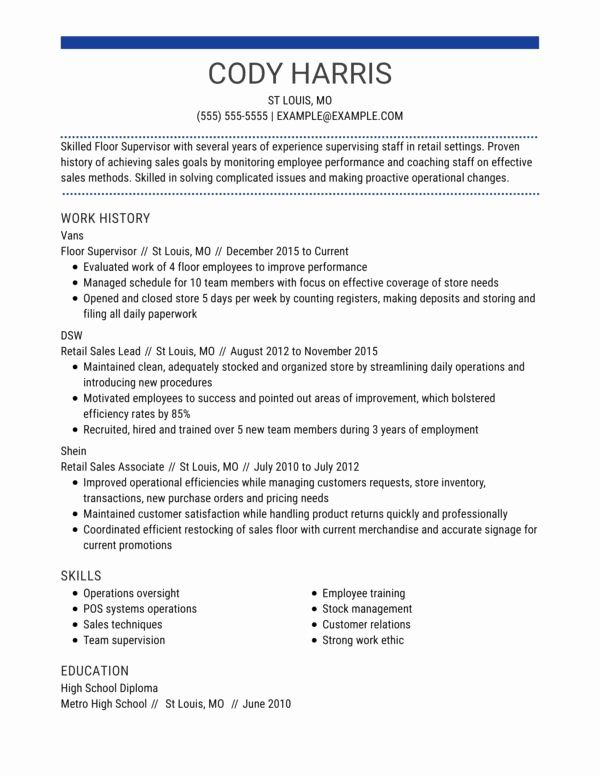 entry level retail resume inspirational professional