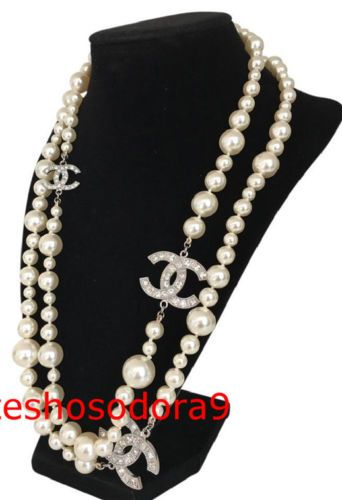 Authentic-CHANEL-Classic-Silver-3-CC-Crystal-Long-Pearl-Necklace-48-034