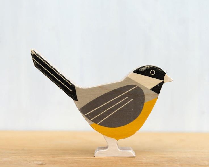 Chickadee Modern Wood Bird Black Capped By StudioLiscious On Etsy