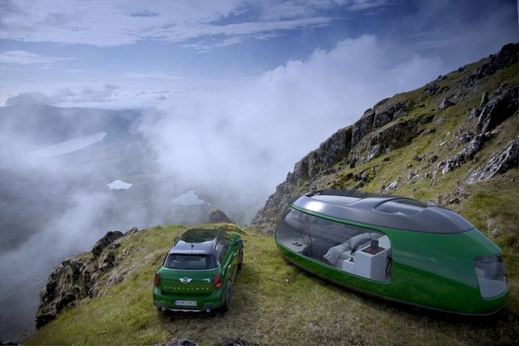 luxury camping pod concept influenced by mini cooper's F60 countryman