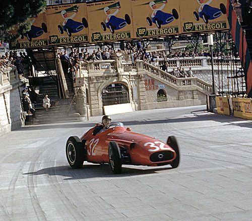 Fangio was a master at car control - here he is effortlessly sliding his Maserati around Monaco