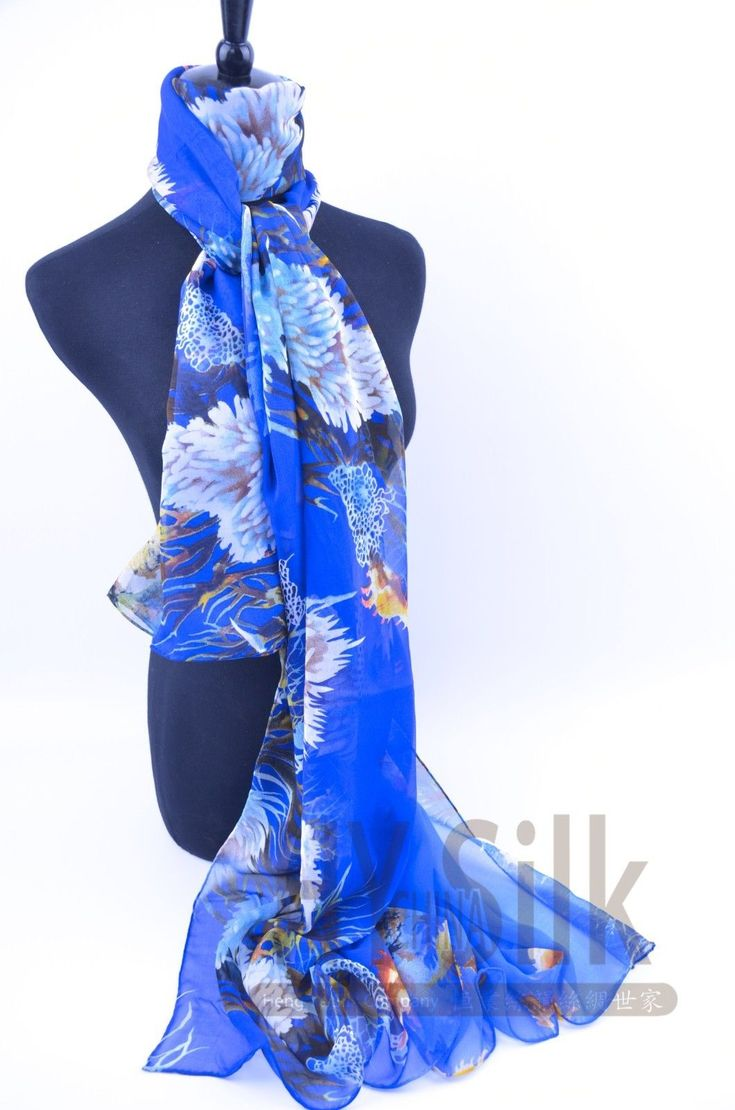 6 Feet Blue Hand-Printed 9 Momme Pure Silk Georgette Marine Plant Pattern Wrap