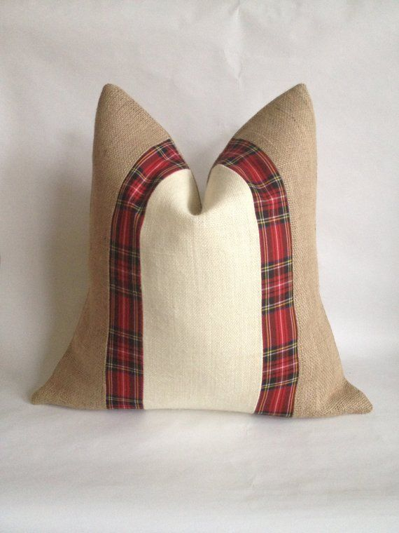 Christmas Red Plaid Fabric, Cream and Natural Burlap Pillow Cover