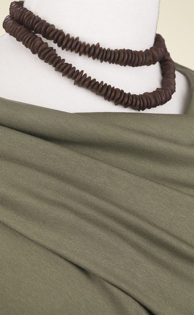 Beautifully-draping soft olive green viscose jersey fabric with a lovely soft handle. Perfect for dresses, tops and flowing tunics; gathering and layering.