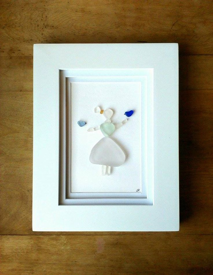 Sea glass maiden with birds// Sea glass art// Sea glass by RedIslandSeaGlass on Etsy