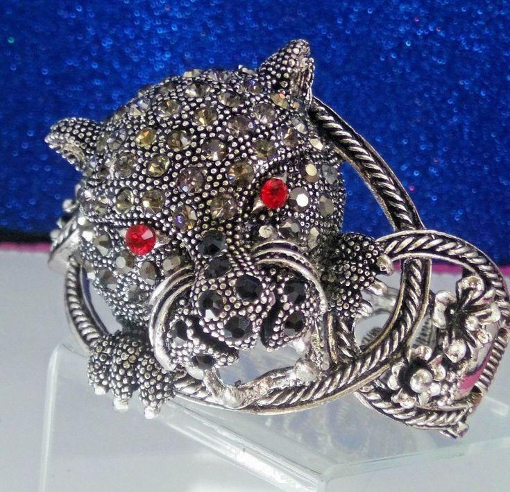 VINTAGE SILVER TONE RHINESTONE 3 DIMENSIONAL TIGER WILD CAT BRACELET #Unbranded #Cuff