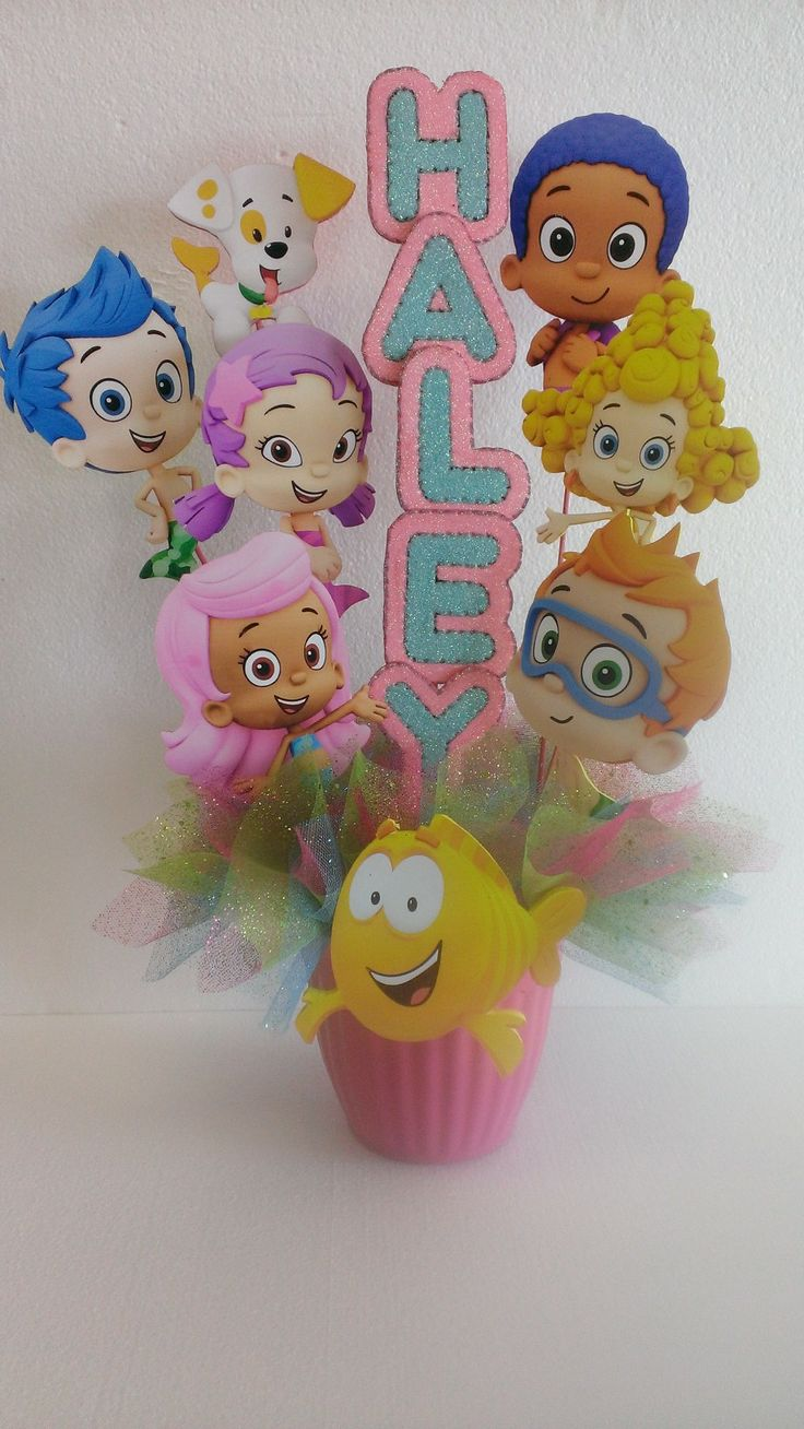 48 best birthday party baby shower centerpieces and party props images on pinterest - Bubble guppies center pieces ...