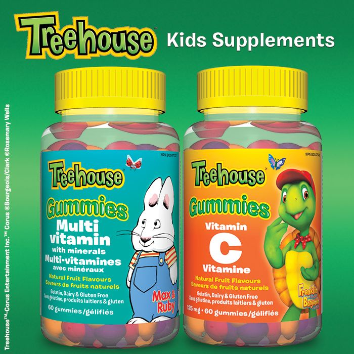 Kids will enjoy the delicious natural fruit flavors – orange, grape, and cherry – and the fact that they're shaped like their Treehouse™ friends.