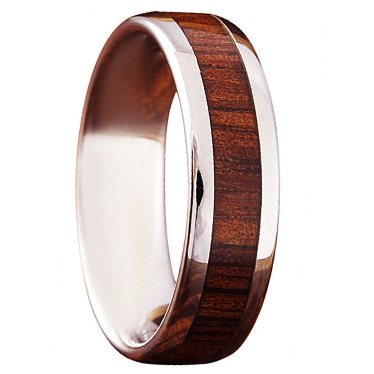 Wood Wedding Band Crafted Out Of Tungsten Carbide Inlaid With Real