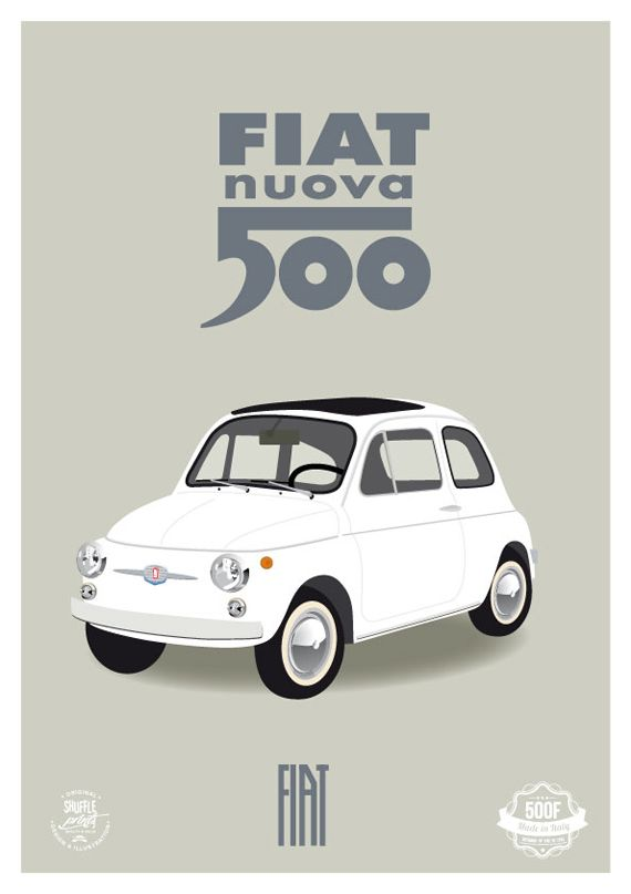 Fiat Nuova 500 - italian vintage art print, classic car white living room 60s