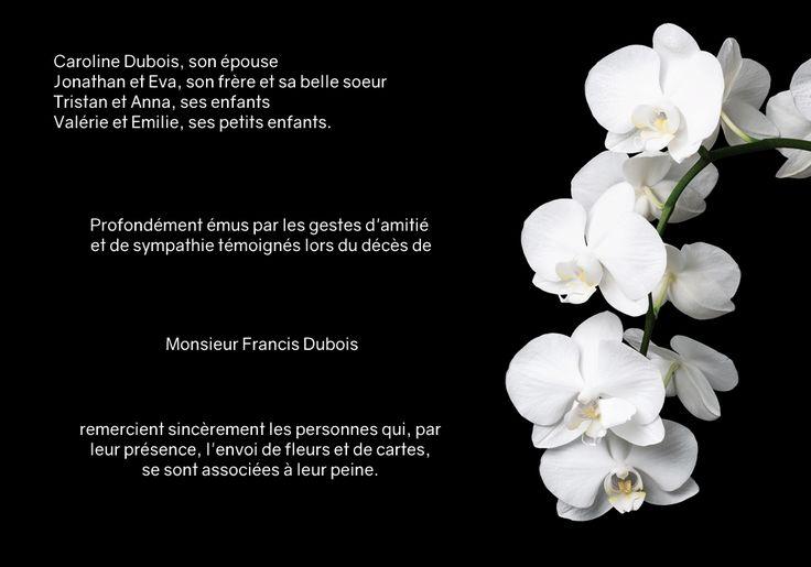 Carte de remerciements décès - thème fleurs - Cascade d'orchidée