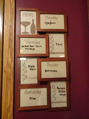 "weekly menu board, solves the ""whats for dinner"" daily question:)"