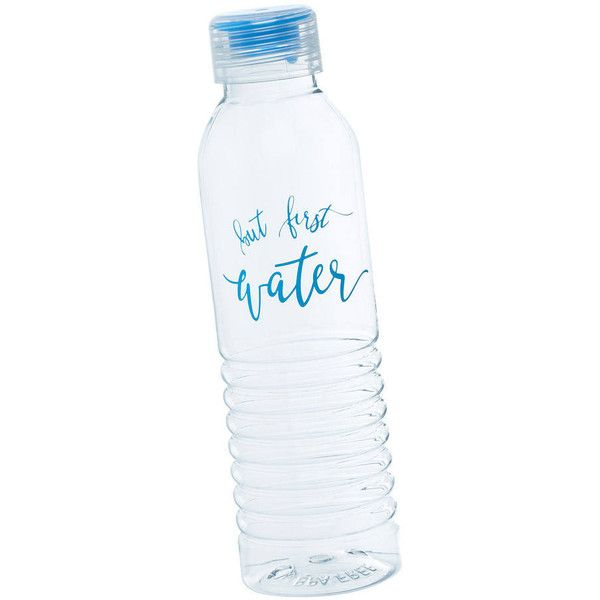 But First Water Bottle Reusable Water Bottle Aqua Water Bottle... ($16) ❤ liked on Polyvore featuring home, kitchen & dining, drinkware, drink & barware, home & living, light yellow, tumblers & water glasses, plastic water glasses, aqua water bottle and bpa free plastic tumblers