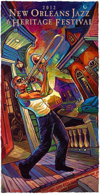 Artist Terrance Osborne created the 2012 New Orleans Jazz Fest poster, featuring trombonist Troy 'Trombone Shorty' Andrews.