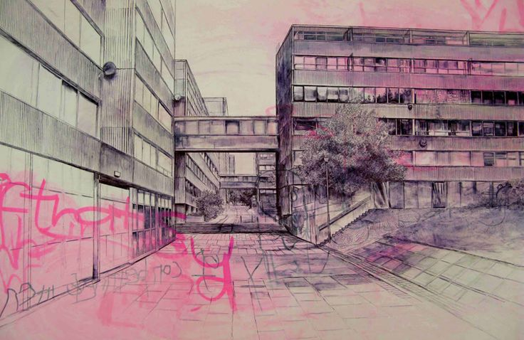 Laura Oldfield Ford, who recently exhibited in New Art Gallery Walsall (amazing gallery) produces detailed illustrations of the city combined with chalk and spray paint, which address urban culture in Briton.