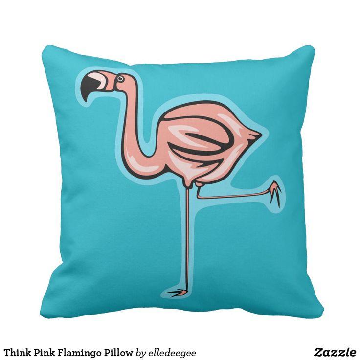 Think Pink Flamingo Pillow