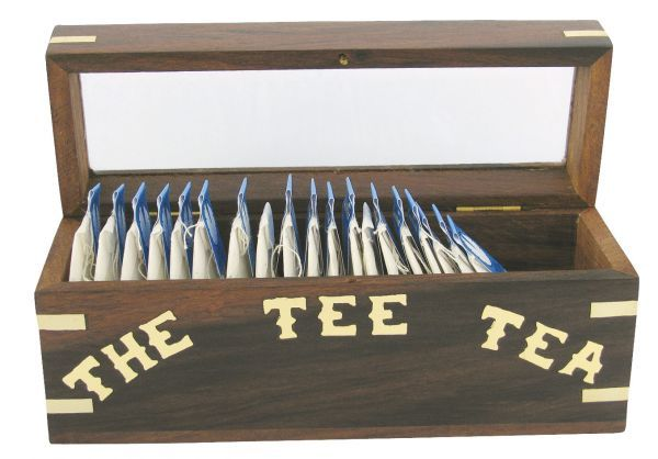 maritime-dekoartikel - Maritime Teebeutel-Box Holz mit Glasdeckel