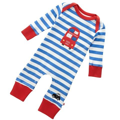Fabulous, functional and downright irresistible!  Prepare to fall in love with the gorgeous and very original London Bus baby playsuit by Piccalilly! Gorgeous red and white stripe baby romper with london bus applique on front! #littlebooteekau #babyonesie #romper