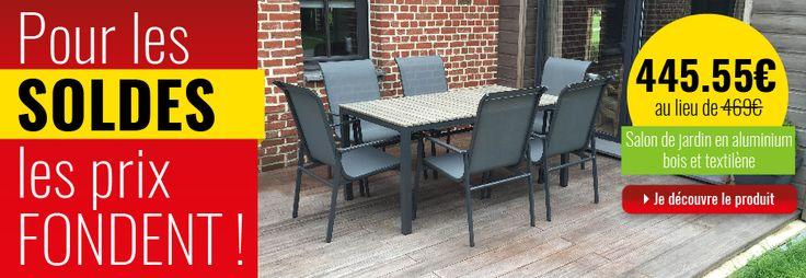 Salon de jardin en aluminium, bois et textilène, table + 6 chaises #soldes #hiver #mobilier #équipement #salon #jardin #terrasse #garden