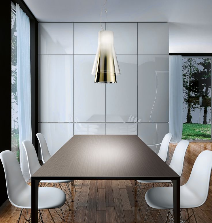 Trigona by Danilo De Rossi. #Pendant with three nested diffusers in blown borosilicate glass, available in various color combination. Double switch, #dimmable. #Trigona #Leucos