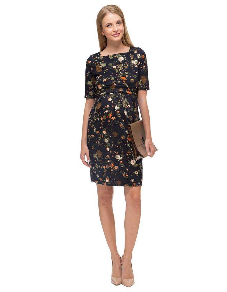 Sort blomstret ventekjole | Sort blomstret ammekjole | Køb ventetøj og ammetøj online fra vores butik i København