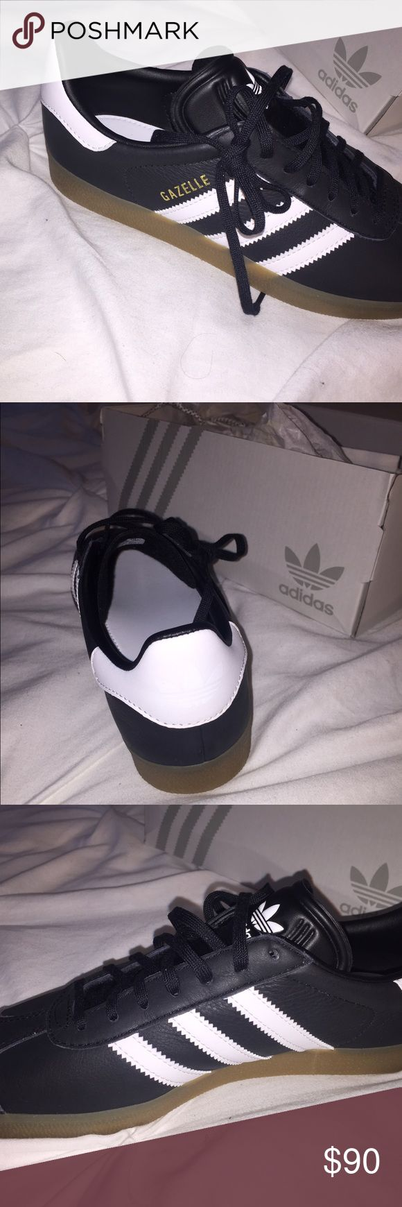 MI GAZELLE ADIDAS SHOES Black gazelle with white strips, gummy base. Brand new, never worn. Bought them a little too big and custom made them so I can not return them. Size 6 in mens. Adidas Shoes Sneakers