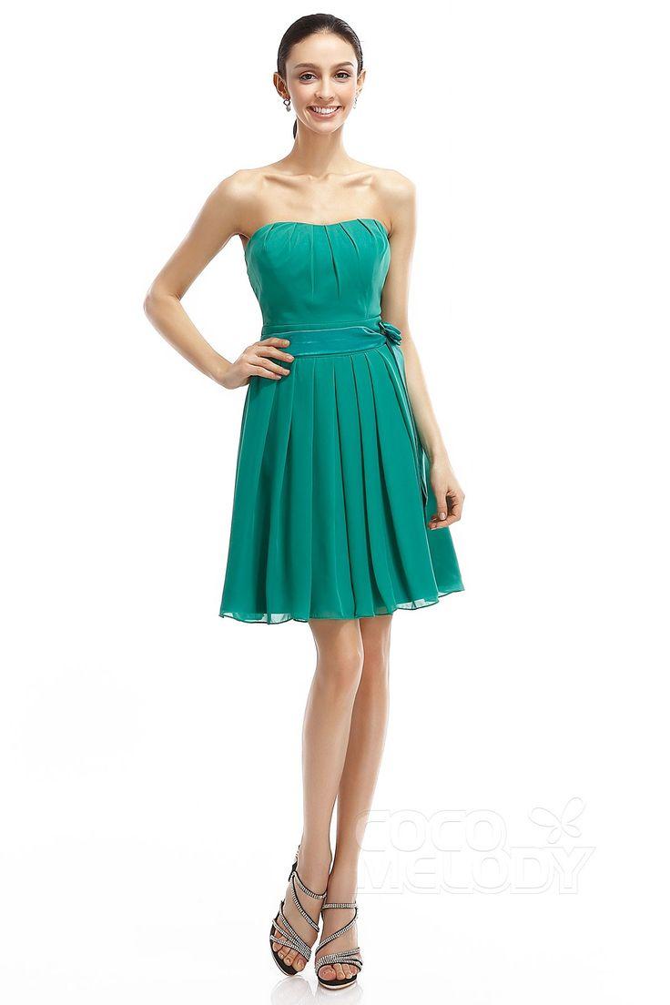 A-Line Sweetheart Short-Mini Chiffon Sleeveless Zipper Bridesmaid Dresses COZM14008#Cocomelody#bridesmaiddress#bridesmaidgown#