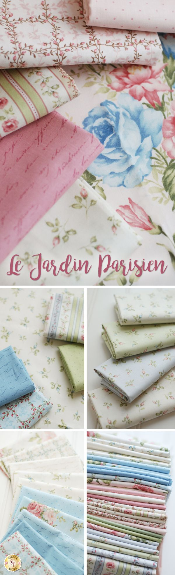 Le Jardin Parisien - Robert Kaufman Fabrics Invoke classic, Parisian romance with the soft florals and vintage hues of Le Jardin Parisien. This beautiful and sophisticated collection by Robert Kaufman Fabrics is reminiscent of another era with shades of pink, ivory, and sage.
