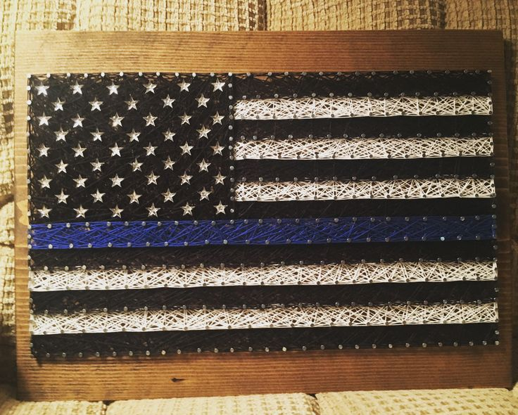 Thin blue line USA American Flag string art- order from KiwiStrings on Etsy! www.KiwiStrings.etsy.com