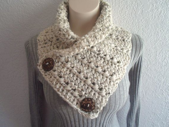 Cream Tweed Chunky Crochet Cowl Neckwarmer by DiddleyDooCrochet, $20.00