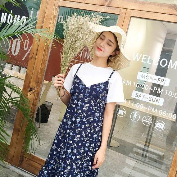 투피스 드레스의 긴 부분을 flouncing 스트랩 드레스 여성 2017 여름 새로운 꽃 무늬 쉬폰 원피스